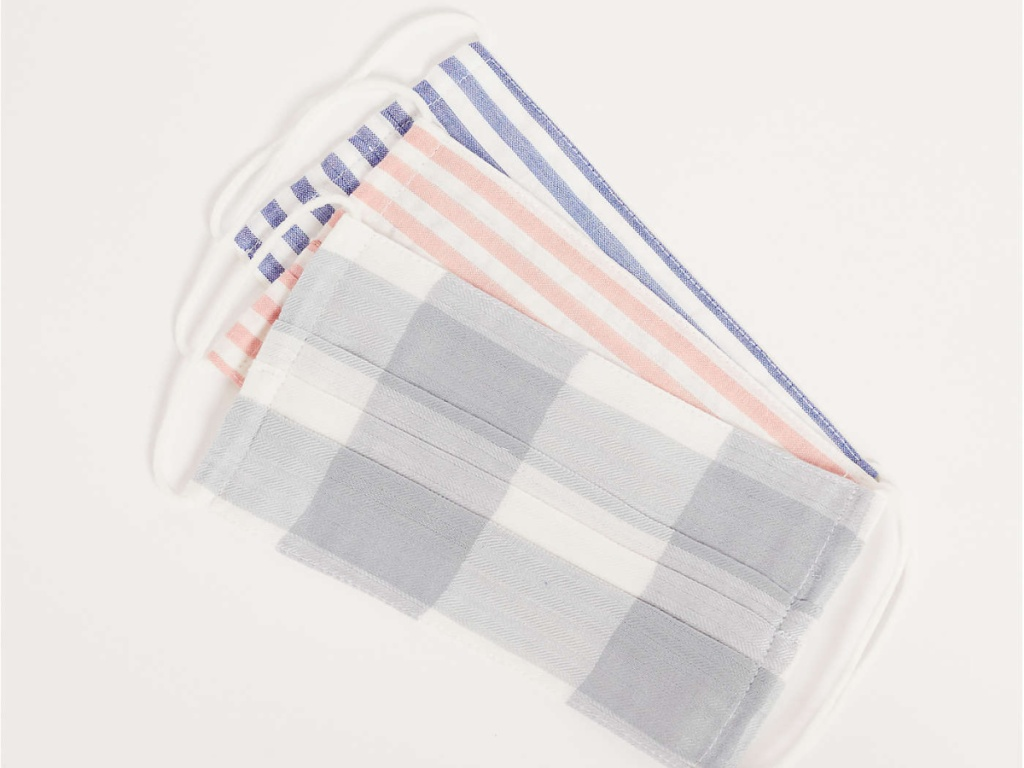plaid and striped reusable masks
