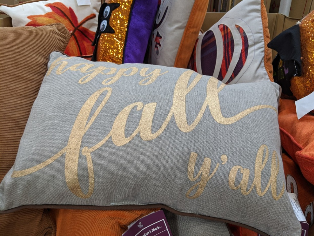 grey pillow with words on it in a store