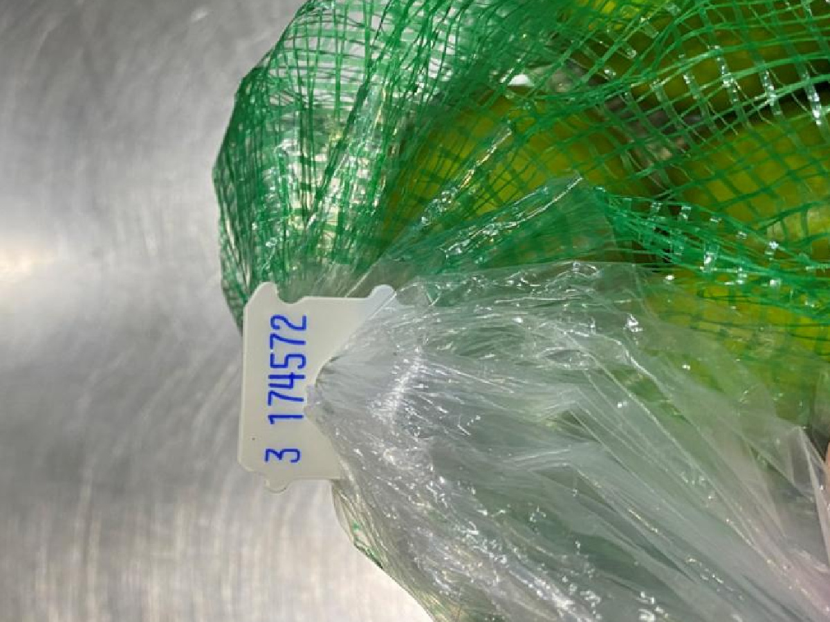 bag of limes showing tag by top of mesh