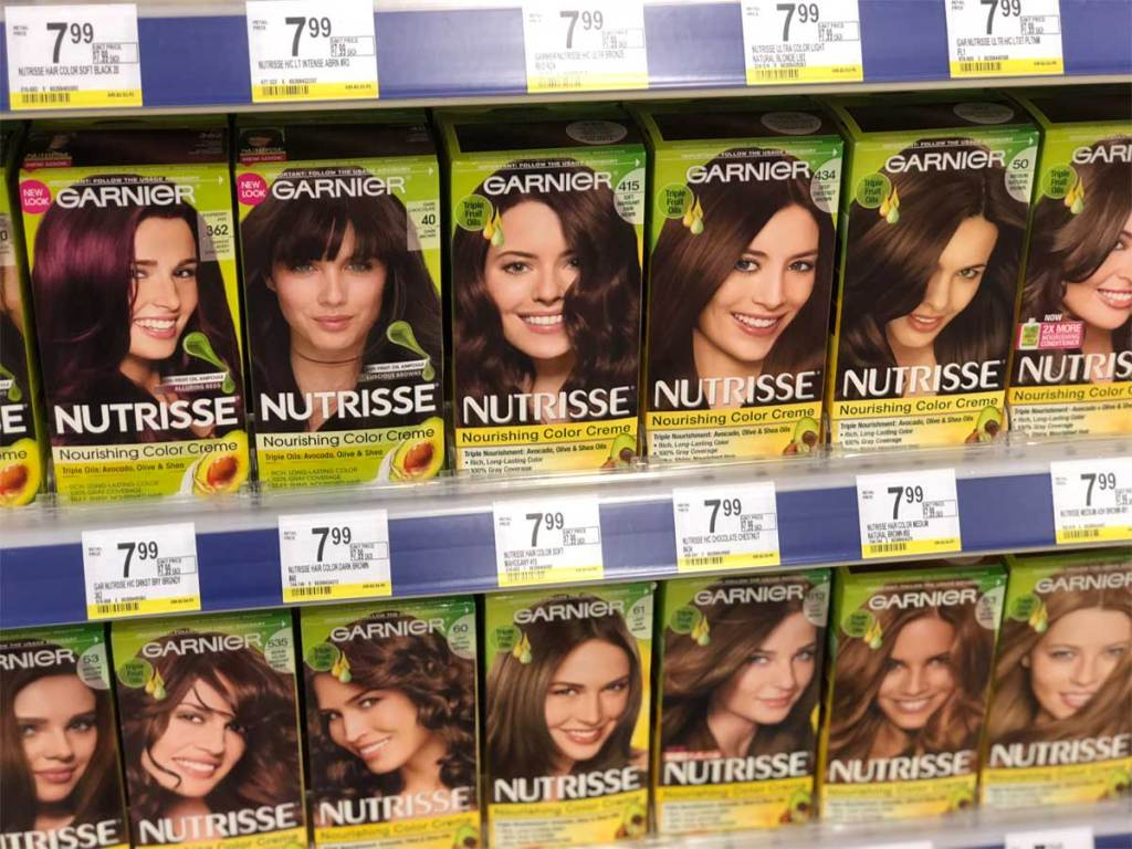 display of garnier nutrisse hair color