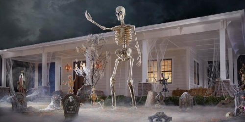 This Giant 12′ Skeleton w/ LifeEyes Will Make Your Home the Envy of the Neighborhood this Halloween