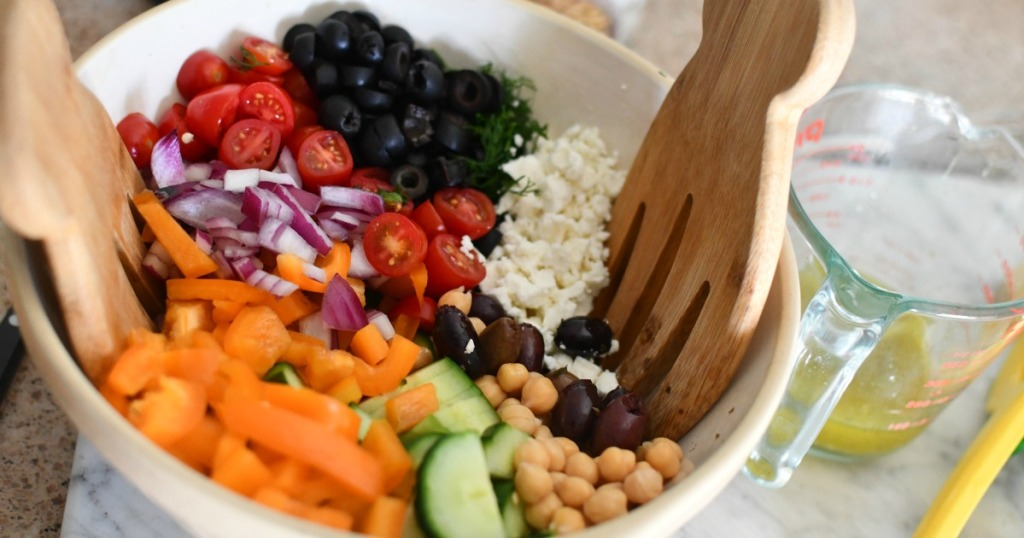 greek chickpea salad before mixing with dressing