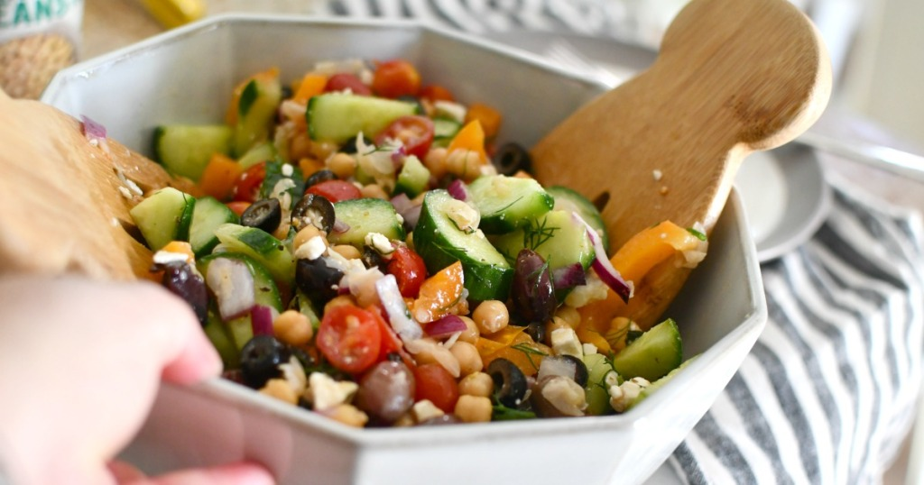 greek chickpea salad in a bowl