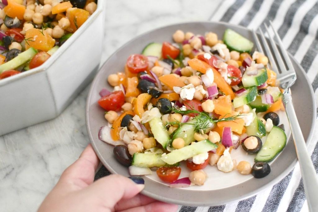 greek chickpea salad on a plate