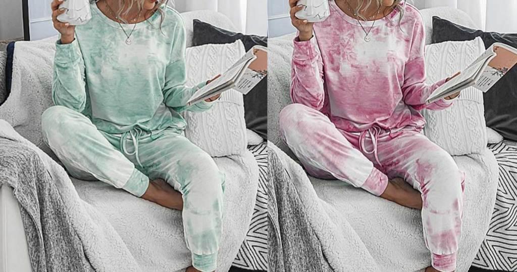 woman wearing green or pink tie dye pajamas