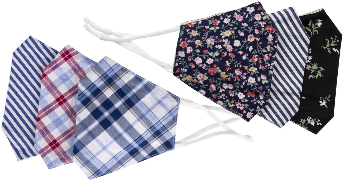 stock images showing a variety of patterned fabric face masks