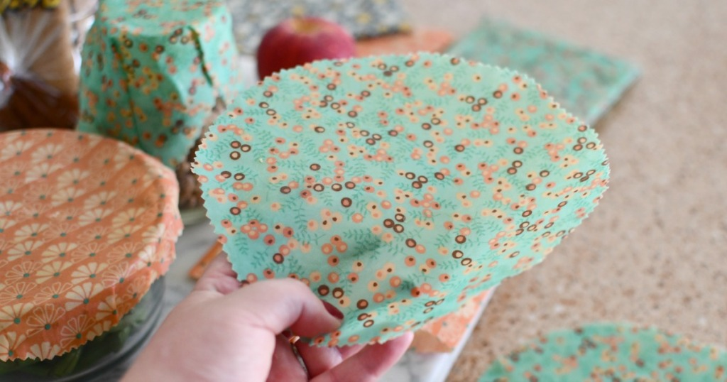 drying wax fabric wraps on a cookie sheet