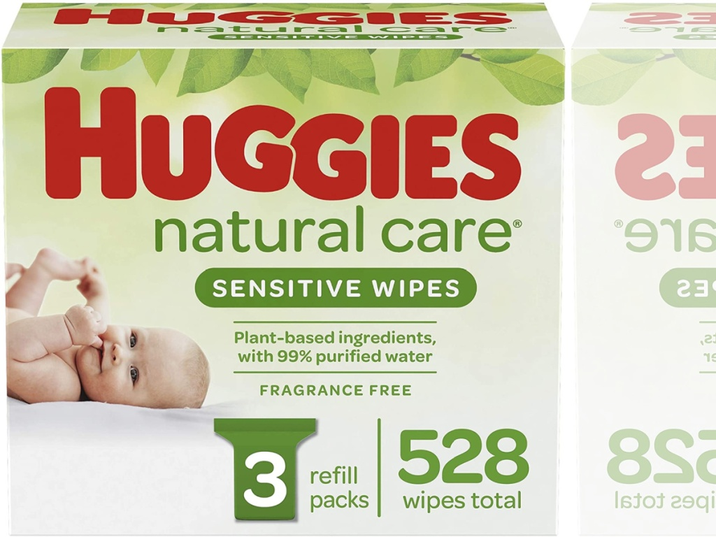 big box of baby wipes in the Huggies brand name