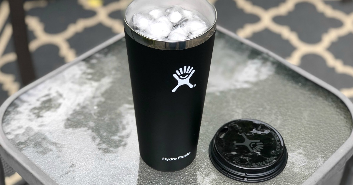 Hydro Flask with ice water on table