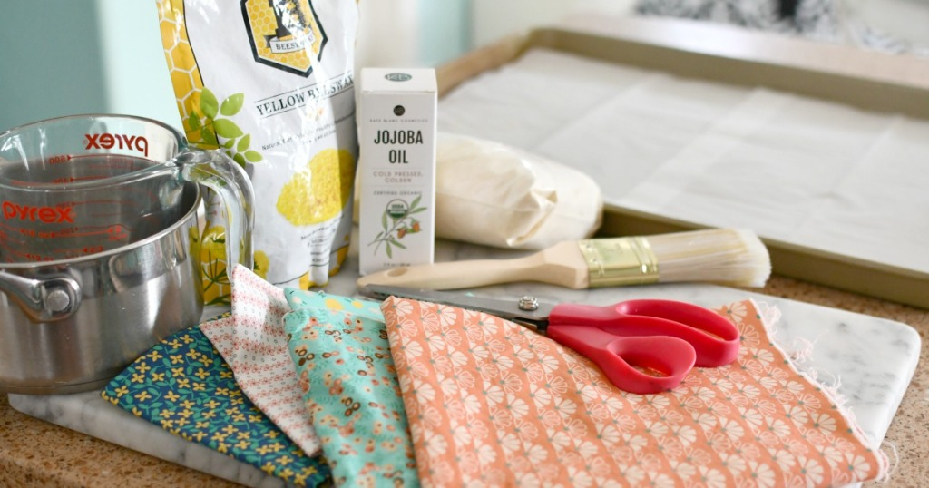 ingredients to make homemade beeswax wraps