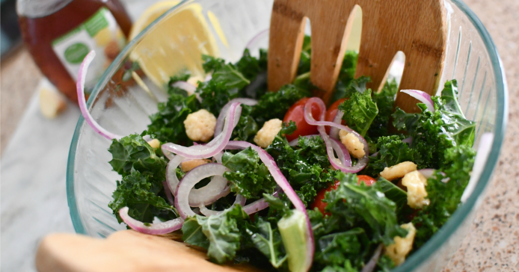 kale salad in a mixing bowl
