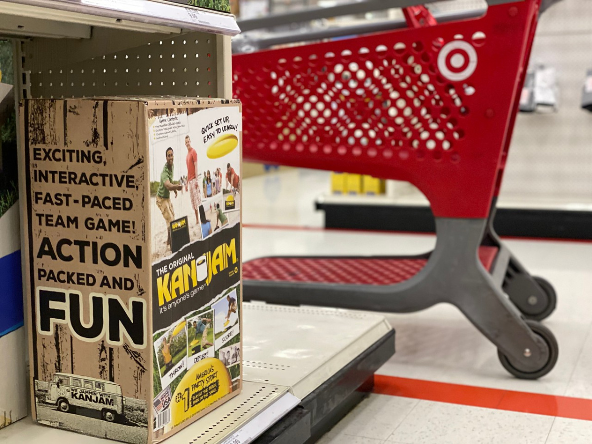 grocery cart next to aisle with boxed game