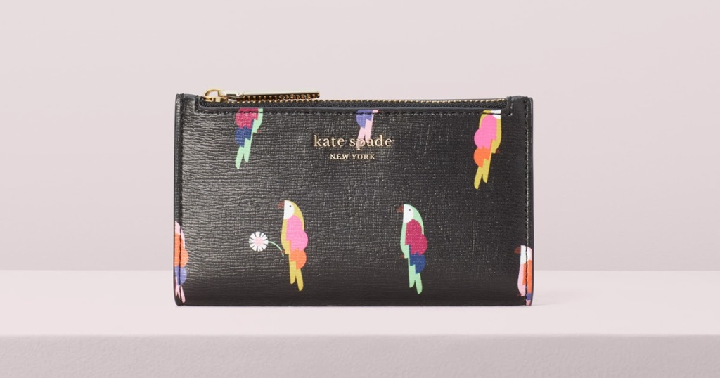 kate spade navy wallet with parrots