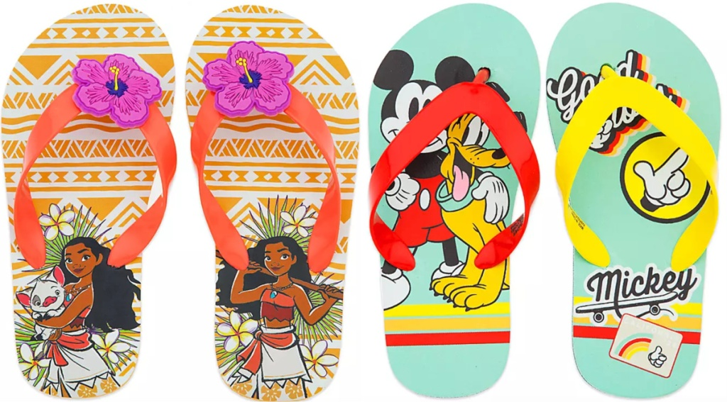 disney mickey mouse and moana flip flops