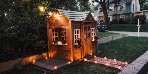 Here's How I DIY'd This Outdoor Wooden Kids Playhouse That I Got for FREE
