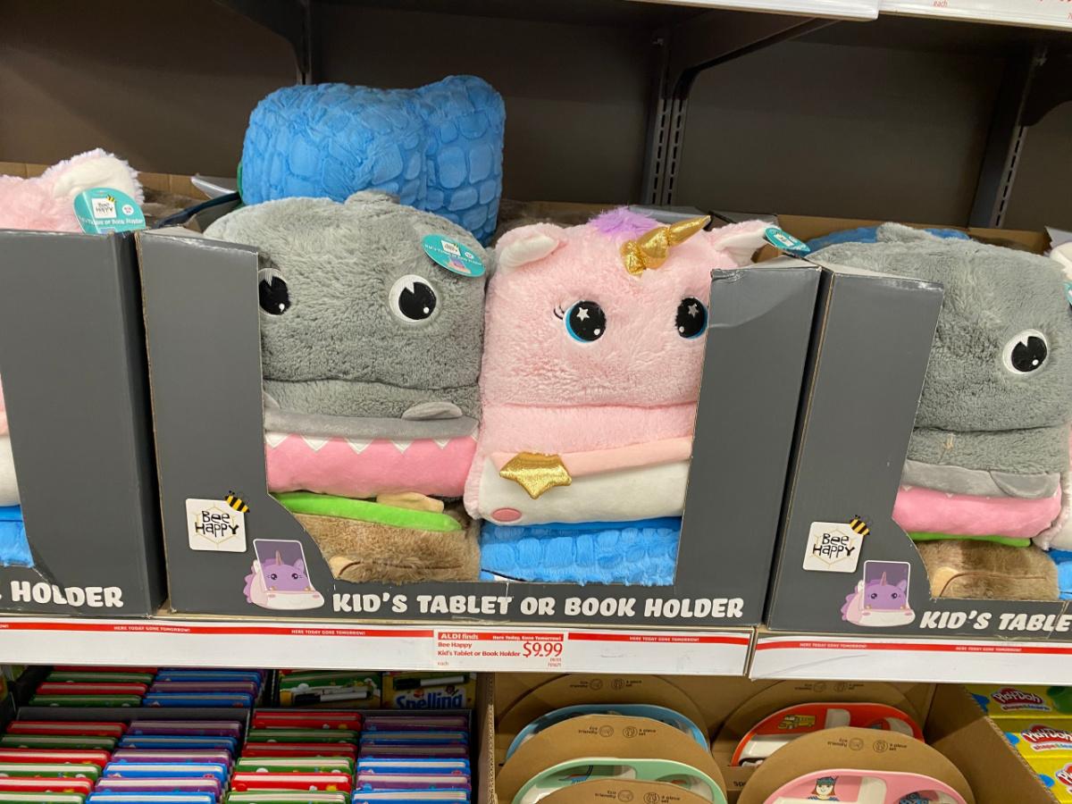 kids shark or unicorn tablet holder