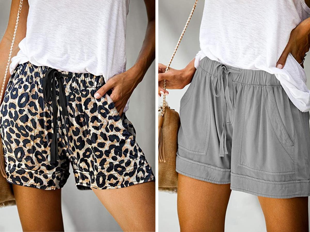 women wearing cheetah print and gray shorts and white tees