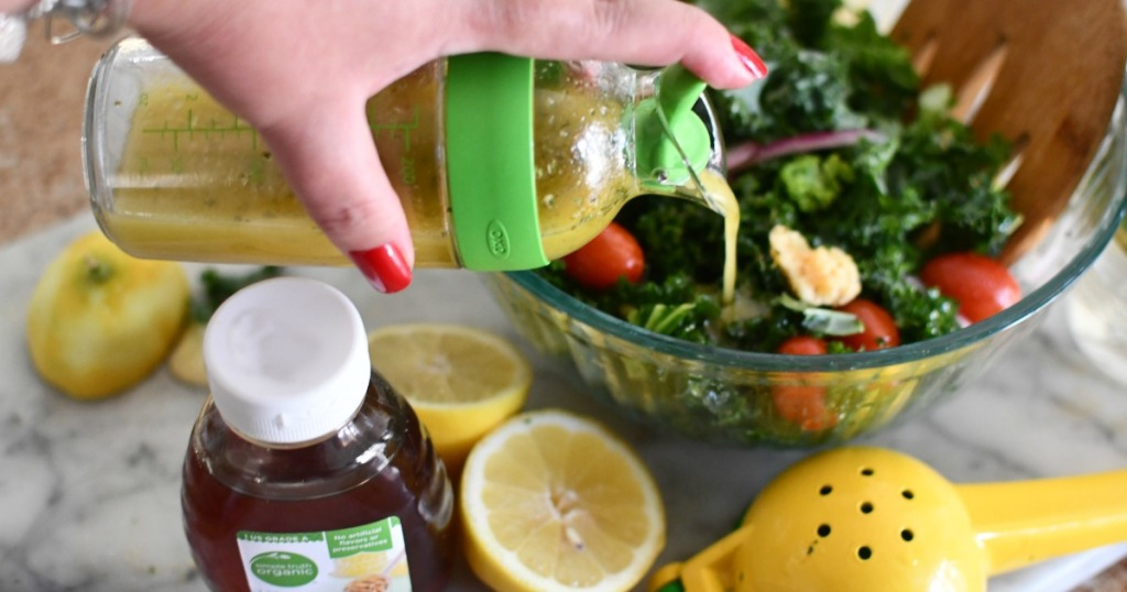 lemon honey dressing in a shaker
