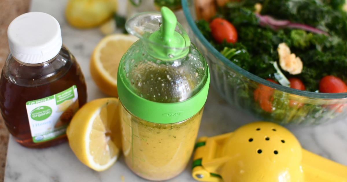 lemon honey salad dressing in OXO shaker
