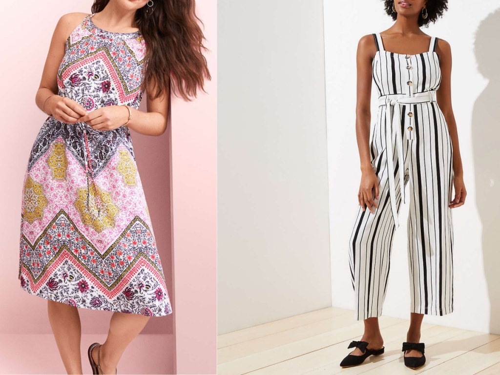 women wearing patterned dress and striped jumpsuit