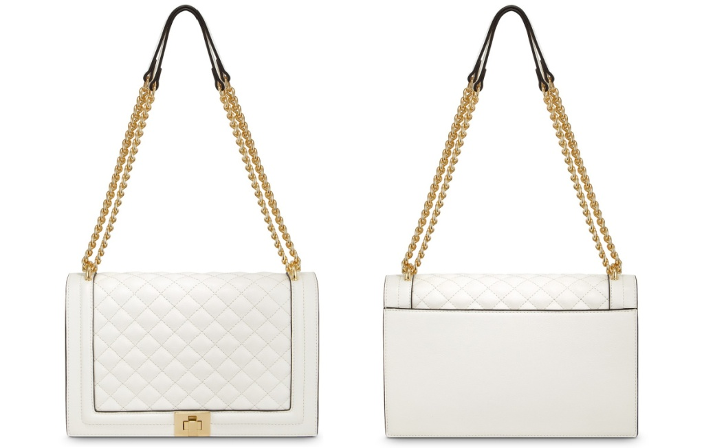 white quilted hand bag