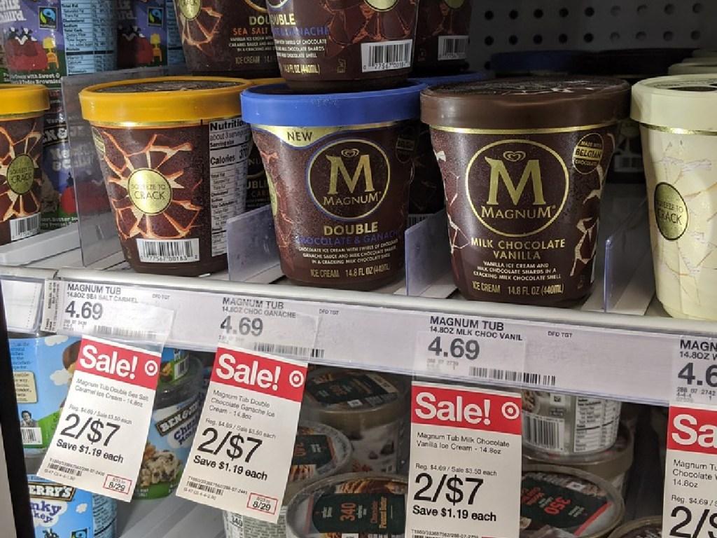 store freezer with tubs of ice cream