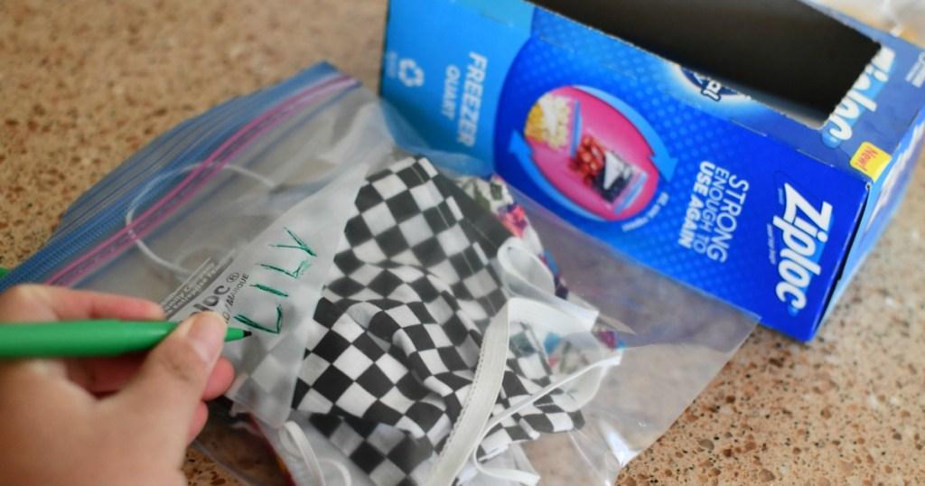 masks inside Ziploc bags