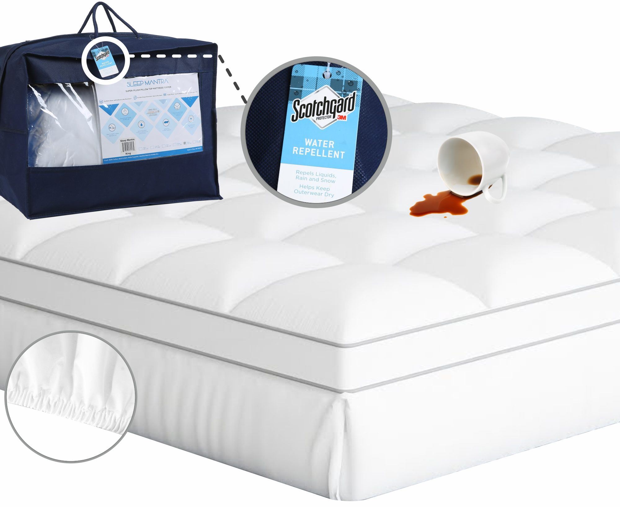 sleep mantra mattress topper with fabric protector