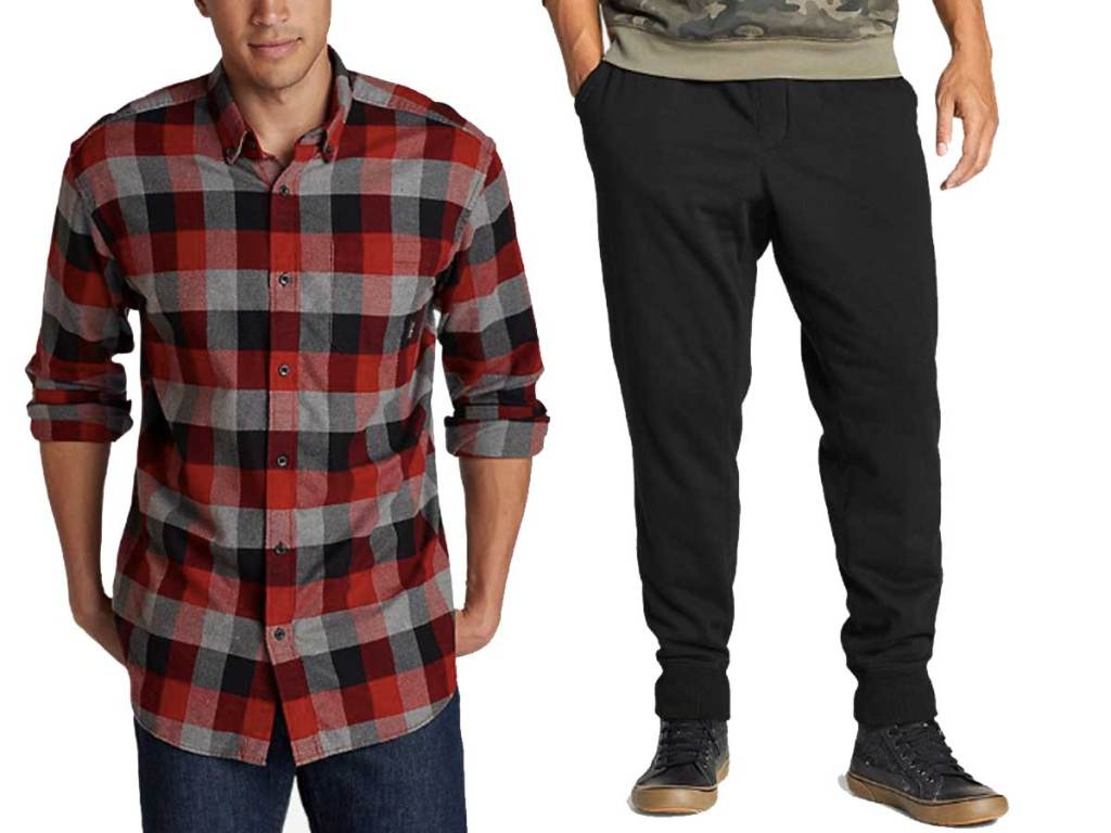 men's flannel and joggers