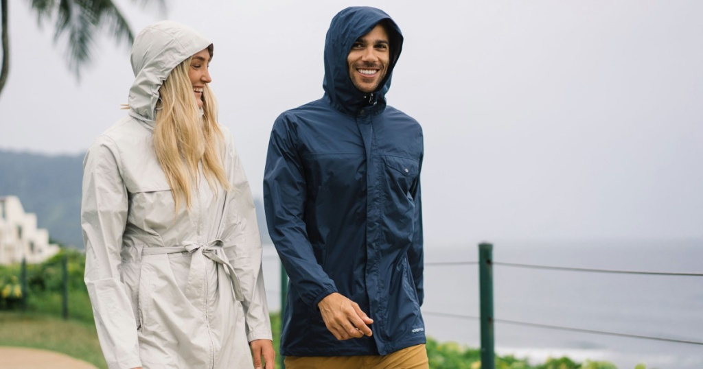 woman and man walking together wearing jackets