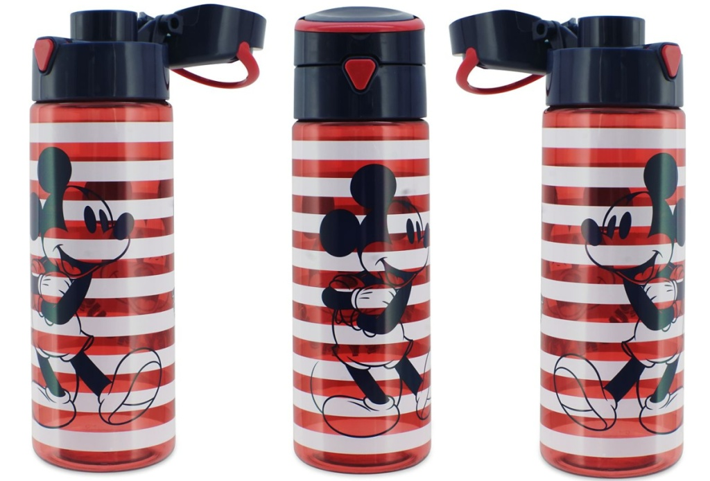 three views of mickey mouse water bottles
