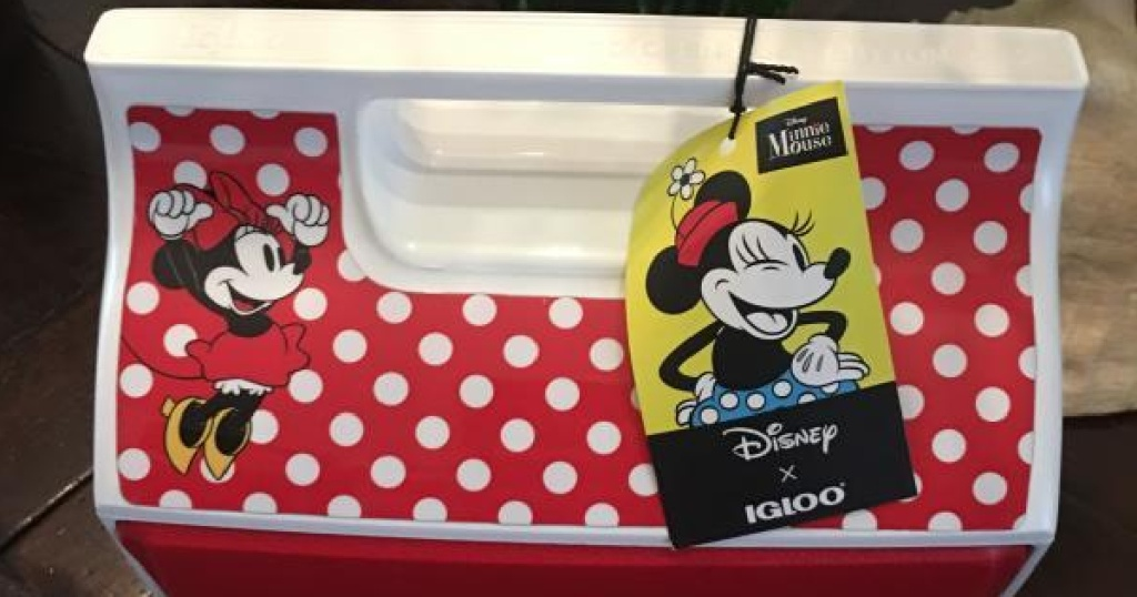 Igloo cooler with Minnie Mouse designs on it