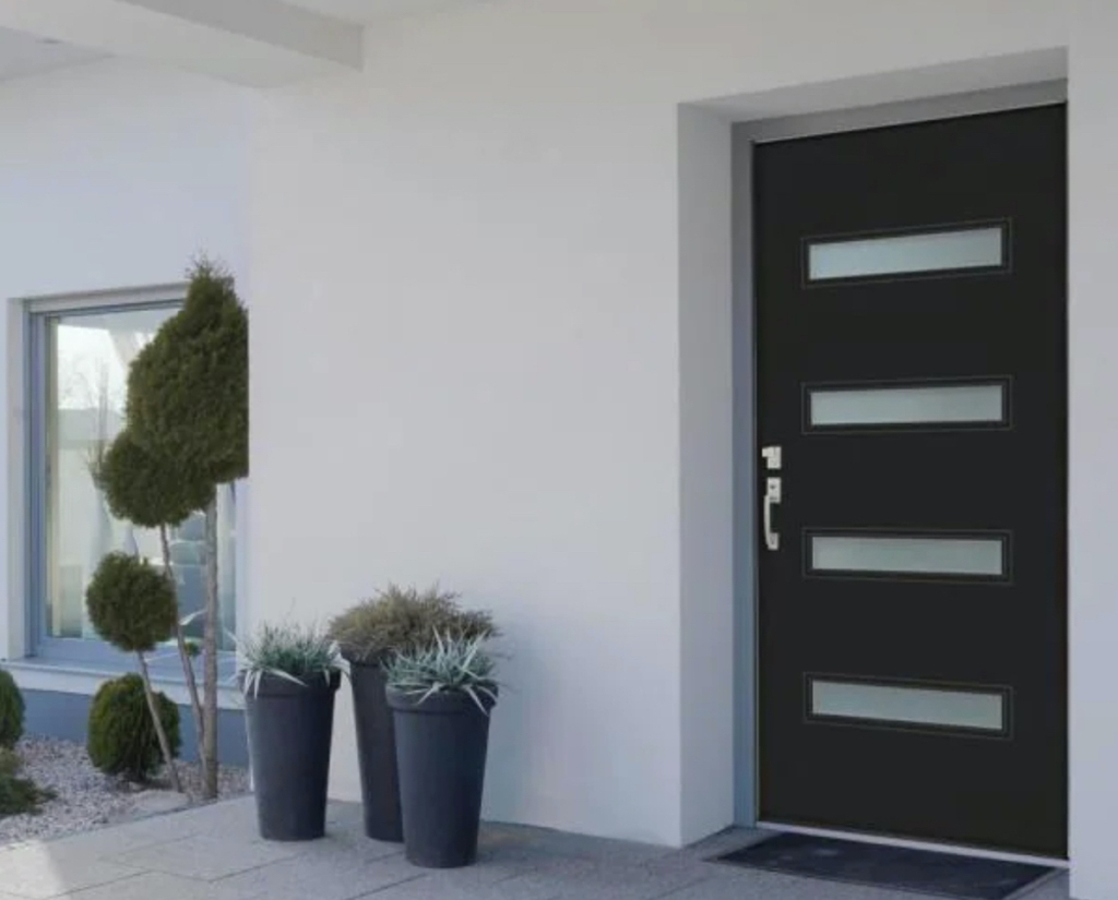 modern exterior of house with black front door