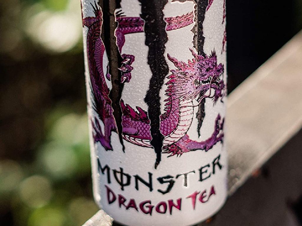 can of Monster brand tea on ledge