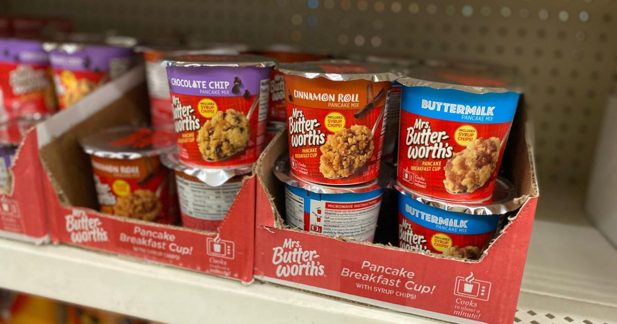Mrs. Butterworth's pancake mix cups on store shelf