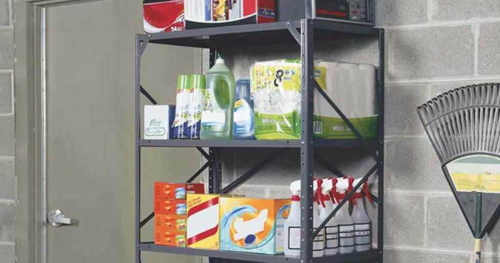 steel shelving unit in garage holding household goods