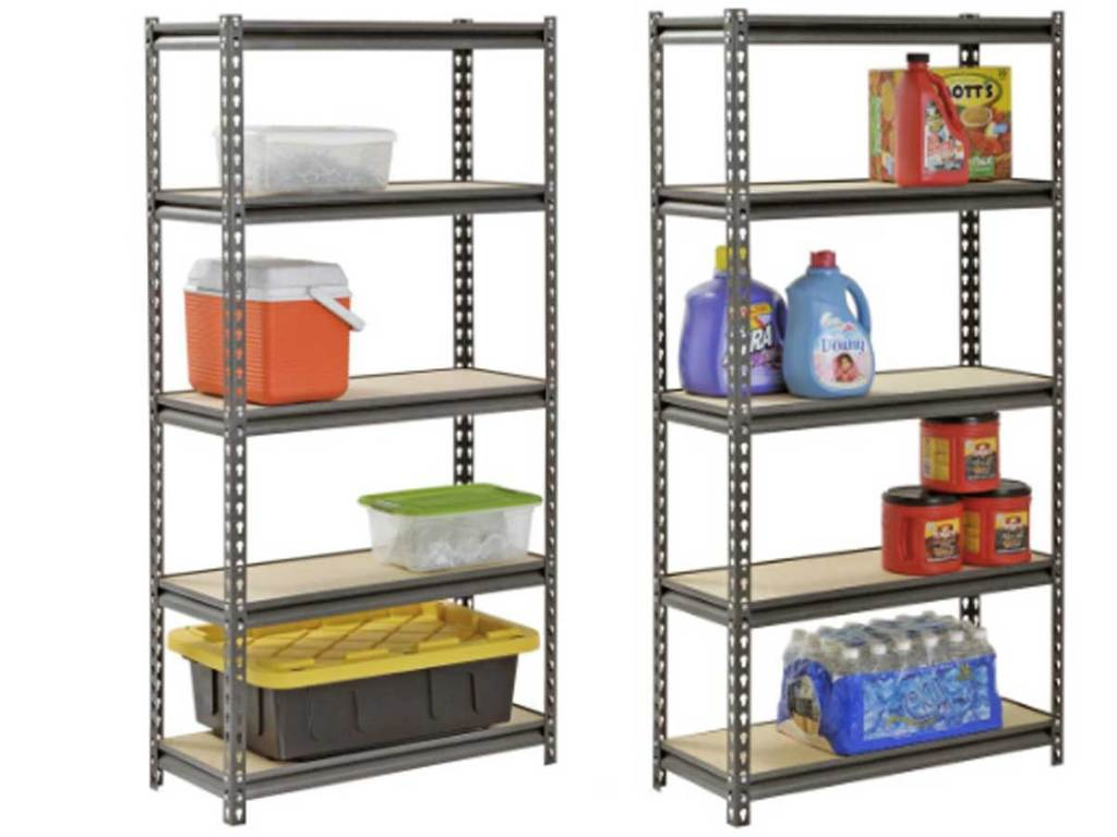 shelving unit muscle racks with items on them