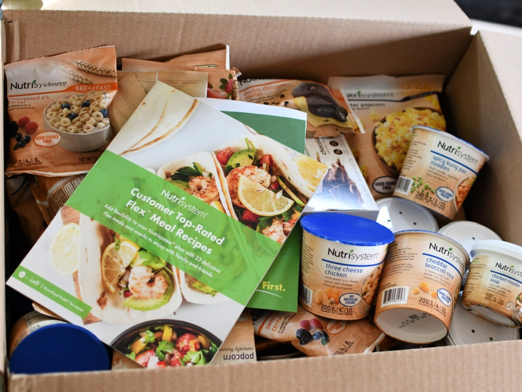 nutrisystem box with food and brochure