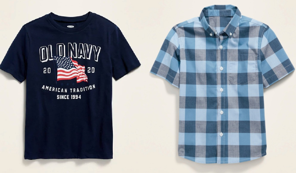 old navy tees and plaid shrit