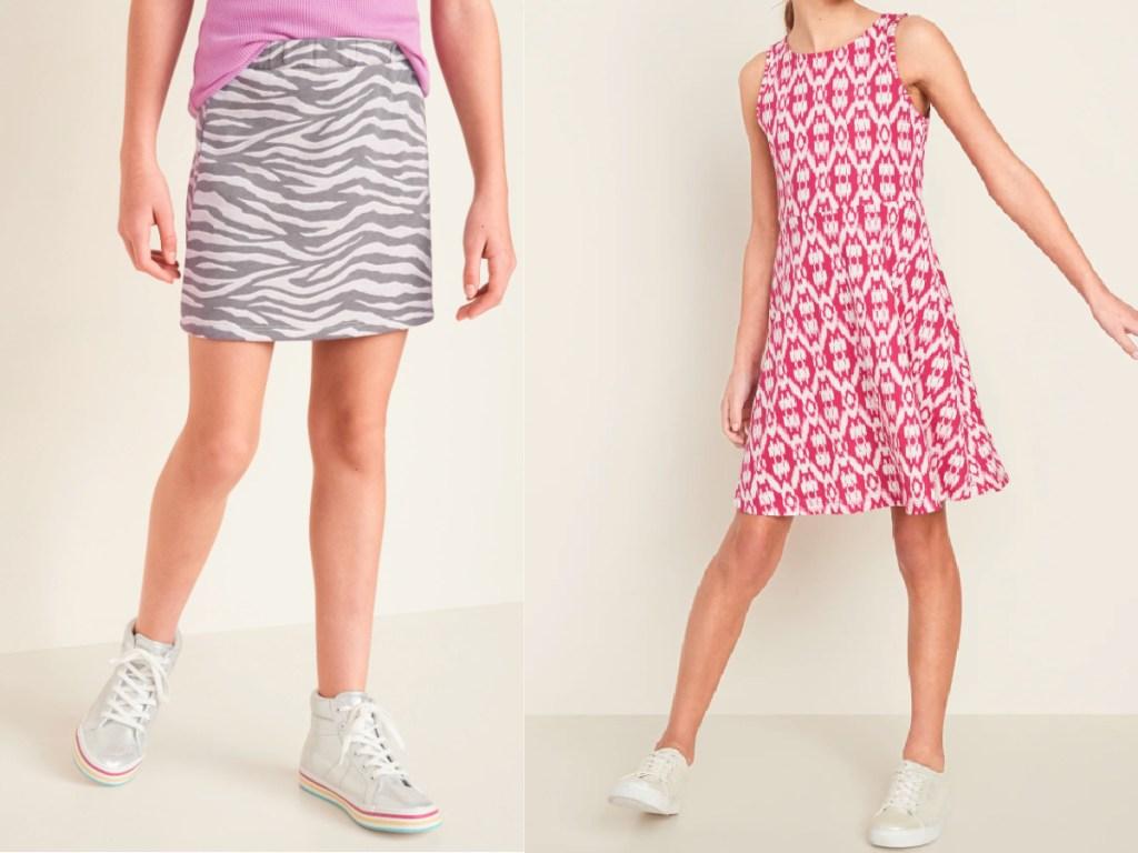 zebra skirt and red and white dress