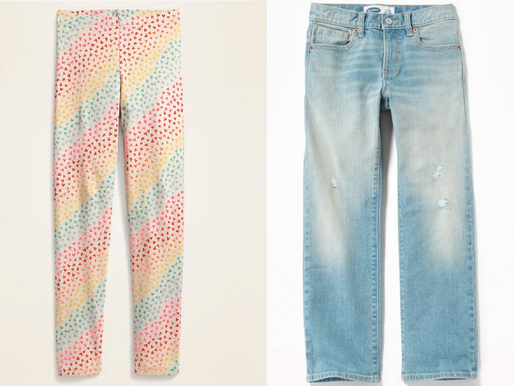 heart leggings and jeans