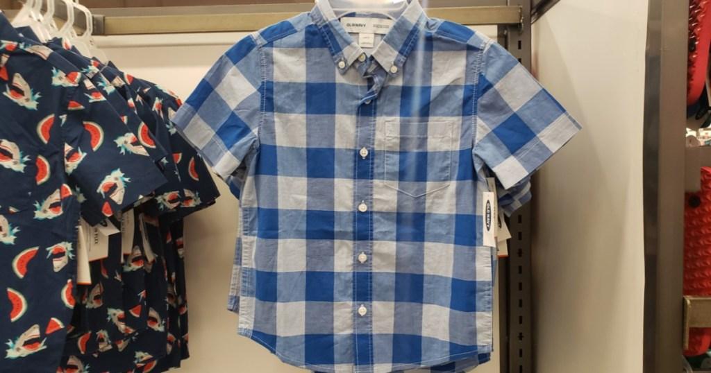 white and blue plaid shirt