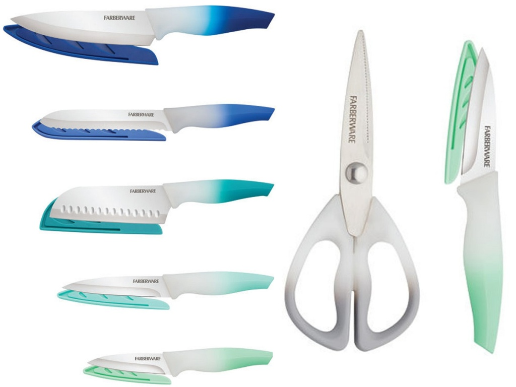blue and green knives with a set of kitchen shears on white background