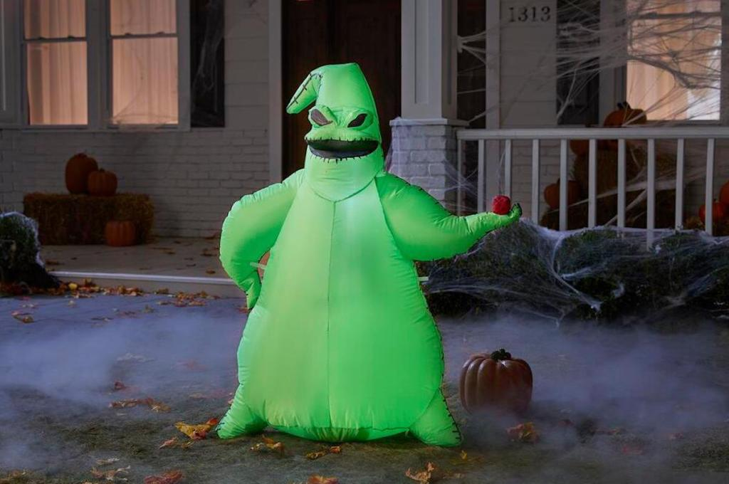 Oogie Boogie Inflatable in Halloween-decorated yard