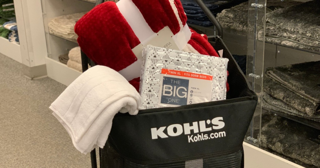 kohls cart packed with towels blankets and sheets
