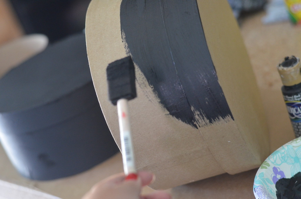 painting boxed with black paint