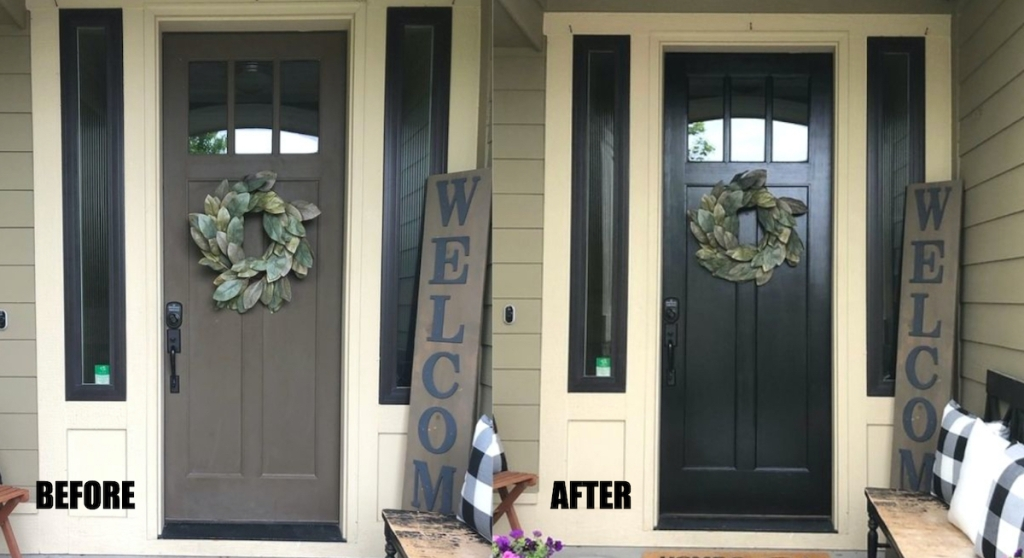 before and after of black painted front door