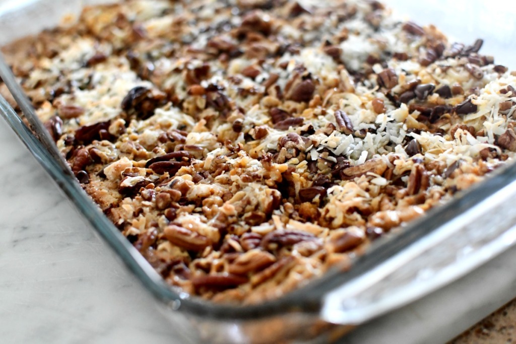pan of magic cookie bars
