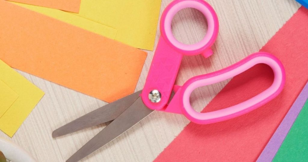 kids scissors with construction paper