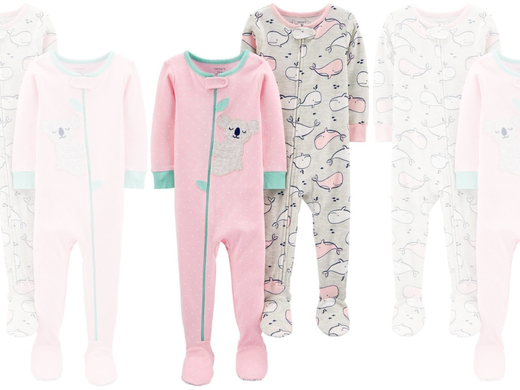 pair of full length pink pajamas with zipper in front
